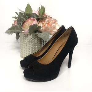 Chinese Laundry Black Suede Peep Toe Pumps